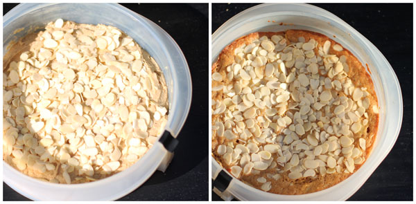 Baking the apple cake, before and after