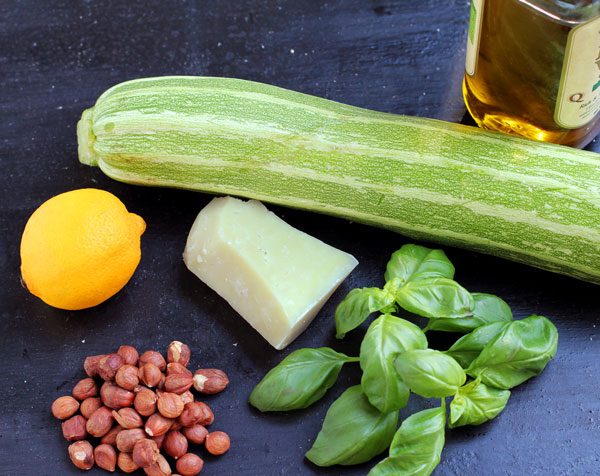 Ingredients: Courgette, Lemon, Pecorino, Basil, Hazelnuts and Olive Oil