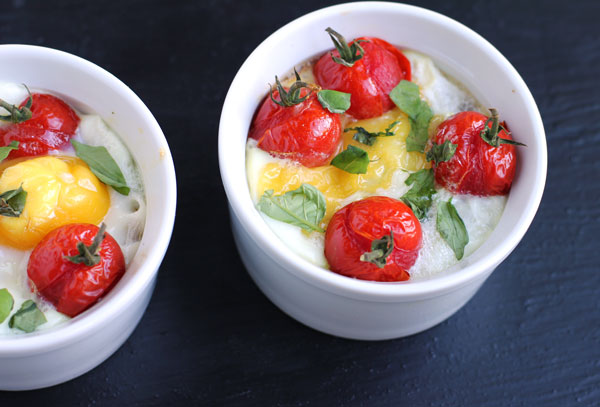 Baked Eggs with Goat Cheese